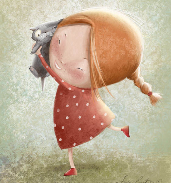 A cute little girl cuddles a kitten in this sweet childrens book illustration by Susan Batori