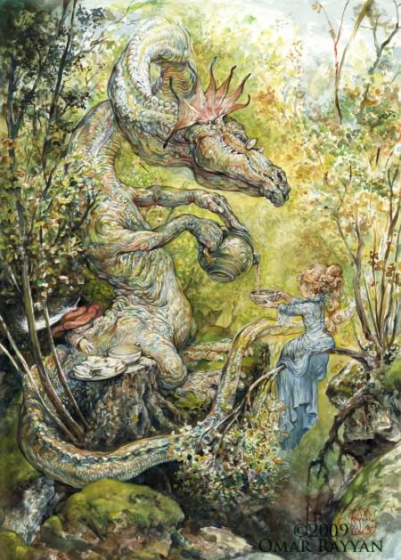A dragon serves a fairy princess tea in this fantasy childrens book illustration by Omar Rayyan