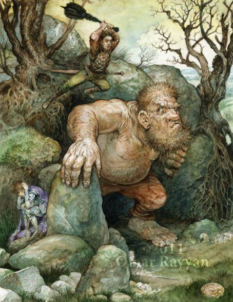 A fantasy warrior attacks a troll in this highly detailed illustration by Omar Rayyan