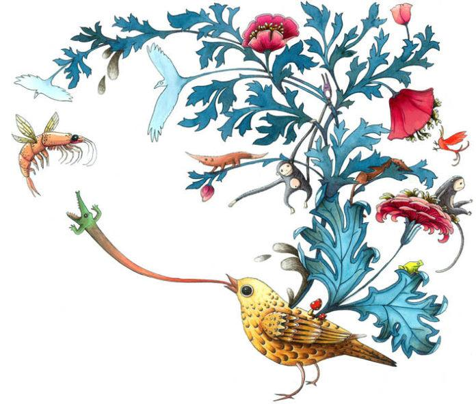 A flying prawn visits a bird with a treet on her back in this creative illustration by Marion Arbona