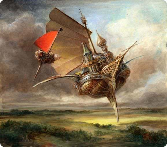 A Flying Ship Takes To The Air In This Fantasy