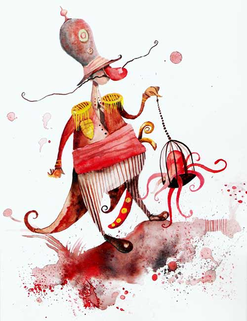 A jolly red nosed general holds an octopus in a cage in this childrens book illustration by Daniel Montero Galan