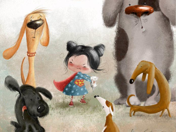 A little girl and her kitten are surrounded by curious dogs in this cute illustration by Susan Batori