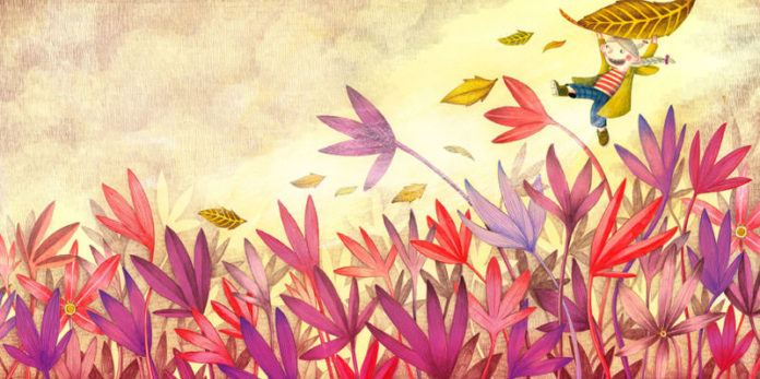A little girl flies with an autumn leaf in this childrens book illustration by Marion Arbona