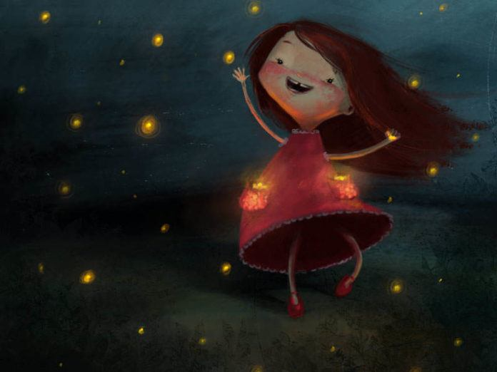 A little girl in a red dress dances with fireflies in this cute illustration by Susan Batori