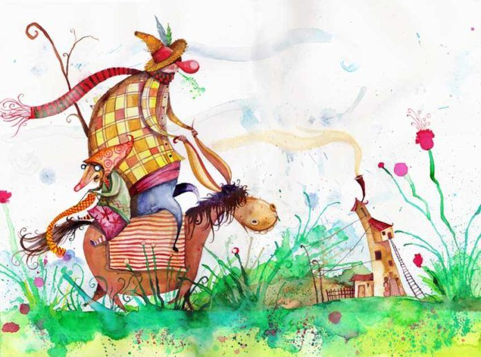 A man and a mousey woman ride a fat donkey in this fantasy illustration by Daniel Montero Galan