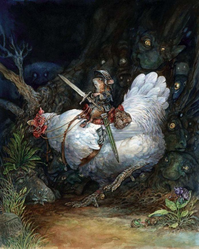 A mouse rides a chicken through a haunted forest in this illustration by Omar Rayyan