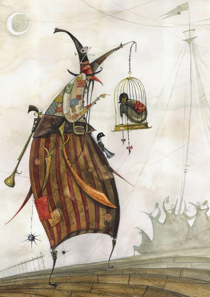 A nasty pirate witch holds a child in a cage in this childrens book illustration by Daniel Montero Galan
