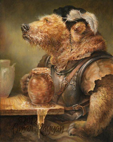 A personified brown bear drinks honey mead in this beautiful illustration by Omar Rayyan