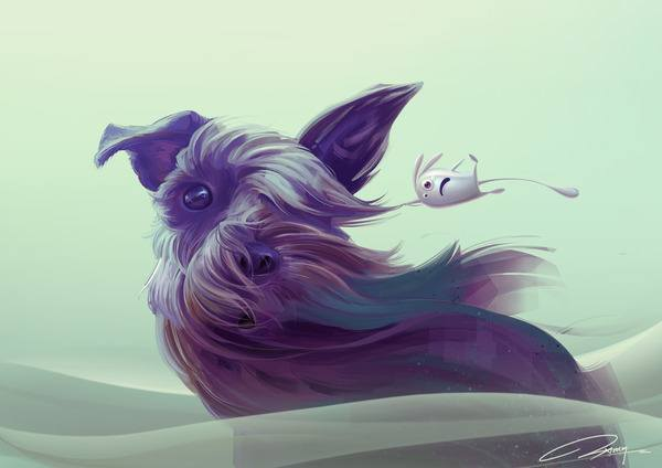 A scottish terrier and an alien blob are windswept in this funny Photoshop painting by Jia Xing Yap