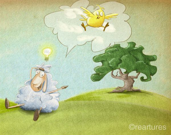 A sleepless sheep gets the idea to count chickens in this cute illustration by Susan Batori