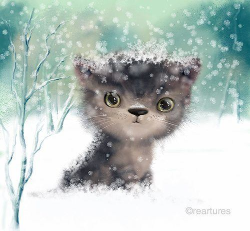 A sweet little kitten sits in the snow in this innocent illustration by Susan Batori
