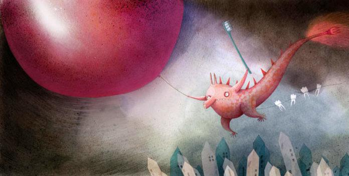 A tooth monster flies over a town with a big red balloon and a toothbrush in this wacky illustration by Marion Arbona