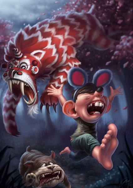 A vicious beastie chases a boy with mouse ears in this funny Photoshop painting by Jia Xing Yap