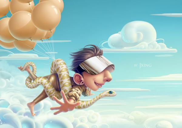 A woman flies with help from a snake and helium balloons in this funny Photoshop painting by Jia Xing Yap