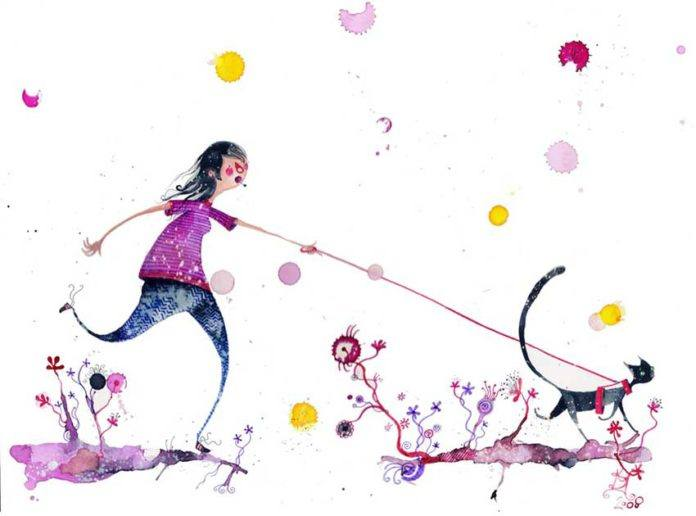 A woman walks her cat in this funny childrens book illustration by Daniel Montero Galan