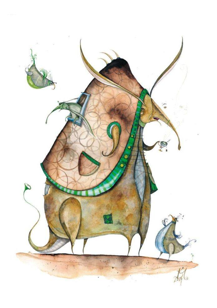Abstract armadillos are the subject of this humorous illustration by Daniel Montero Galan