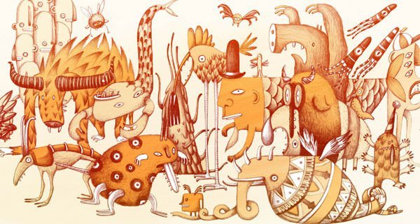 Aliens and insects pose in this stylized and funny illustration by Marion Arbona