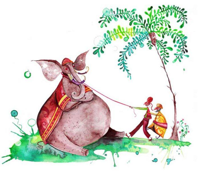 An Indian elephant stubbornly resists its handlers in this illustration by Daniel Montero Galan