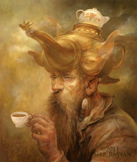 Artist Omar Rayyan gives the Mad Hatter a teapot hat in this illustration for Alice in Wonderland