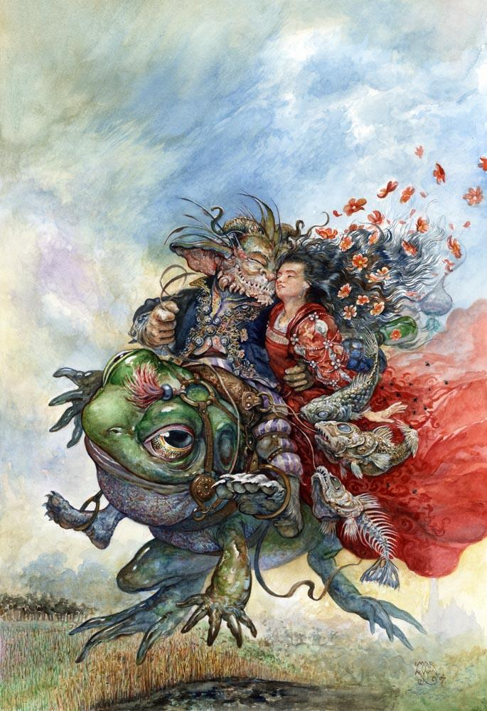 Beauty and the Beast ride on a toad in this stuning childrens book illustration by Omar Rayyan