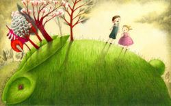 Jack and Jill went up the hill to stand on top of the green rabbit in this illustration by Marion Arbona