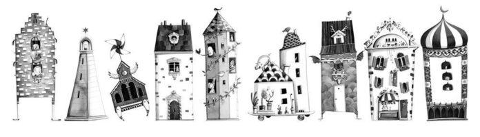 Marion Arbona draws an illustration of a cartoon city, personifying the buildings to give them character