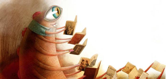 Marion Arbona uses her unusual illustration style to create a unique interpretation of a bookworm