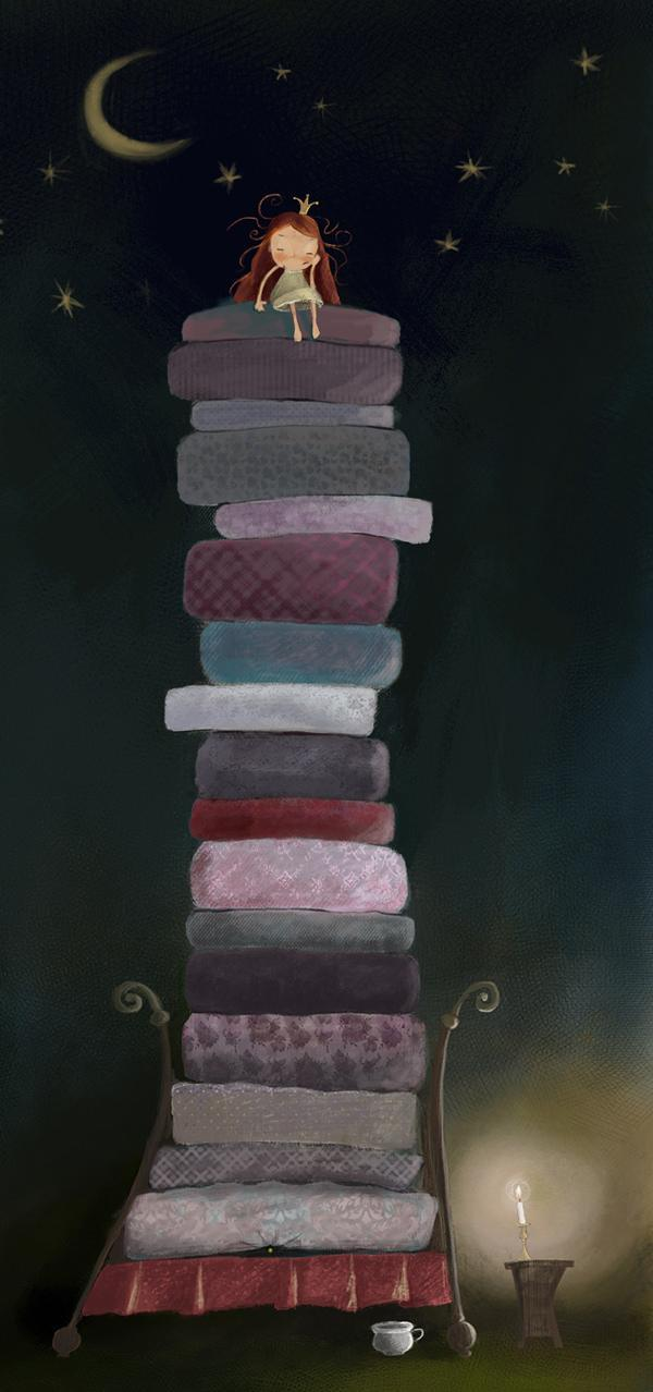 Susan Batori illustrates a cute version of the Princess and the Pea
