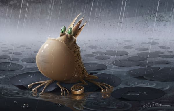 The frog prince admires his golden ring in the rain in this funny Photoshop painting by Jia Xing Yap