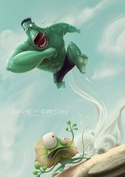 The increible hulk chases a frilled lizard in this funny Photoshop painting by Jia Xing Yap