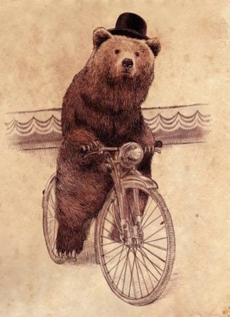 A bear wearing a hat rides a bicycle in this antique styled illustration by Eric Fan