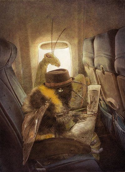 A bee and a preying mantis sit together on an aeroplane in this surrealist, antique illustration by Eric Fan