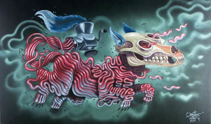 A dog is formed from mince meat in this macabre cartoon illustration by graffiti artist Nychos