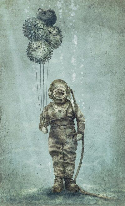 Old Fashioned Diving Suit Drawing