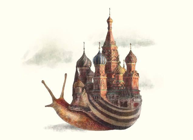 A snail carries the Kremlin as its shell in this surrealist and antique style illustration by Eric Fan