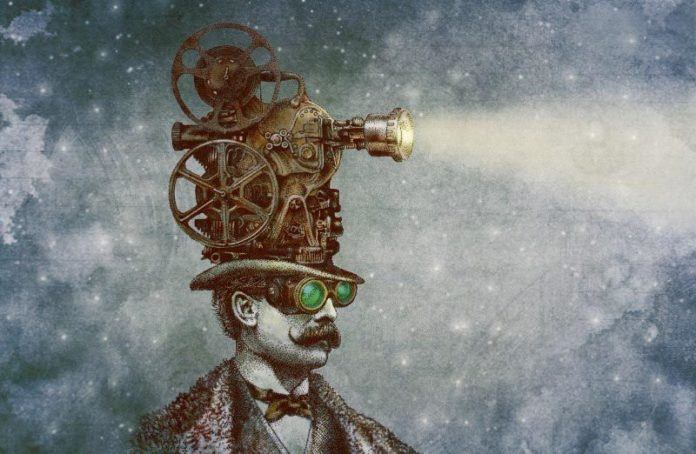A steampunk man wears a film projector as a hat in this antique style illustration by Eric Fan