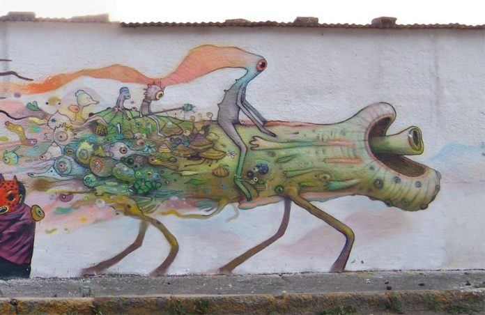 Alien creatures ride a horse like animal in this bizarre pop surrealist graffiti mural by Dhear One