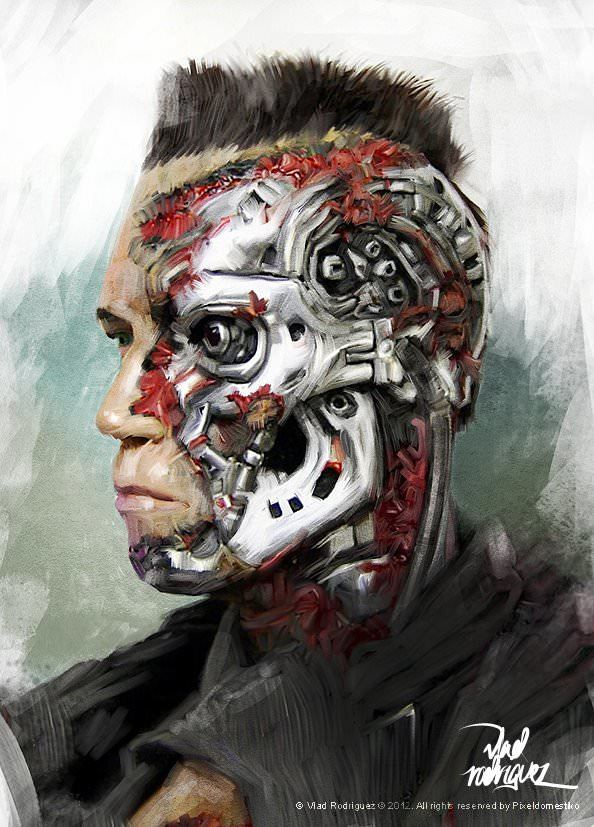 Arnold Schwarzenegger and the Terminator come alive in this photoshop fan art painting by Vlad Rodriguez