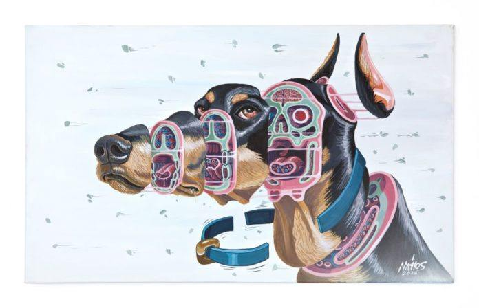 Austrian artist Nychos dissects a doberman dog with a cross section in this macabre cartoon illustration
