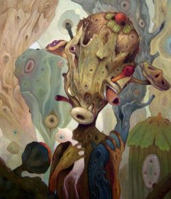 Biology, surrealism and imaginative shapes come together in this weird but incredible painting by Mexican artist Dhear One