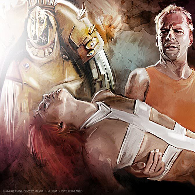 Bruce Willis carries Milla Jovovich in this Photoshop fan art painting of The Fifth Element by Vlad Rodriguez