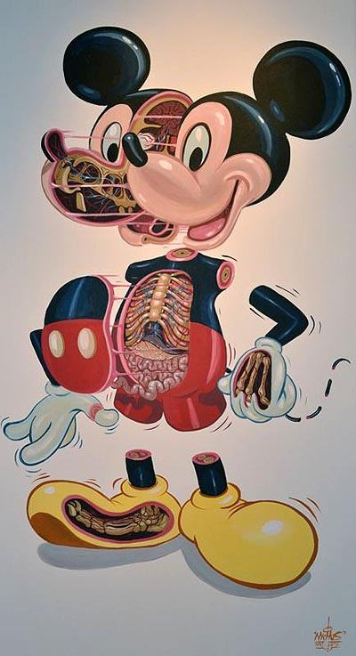 Cartoon character Mickey Mouse is dissected in this creative but macabre illustration by Nychos