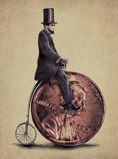 Eric Fan combined antique illustration styles with surrealist imagery to create this hipster art work