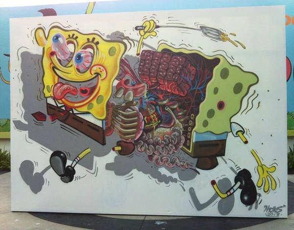 Famous cartoon character SpongeBob SquarePants is dissected in this funny and macabre illustration by Nychos