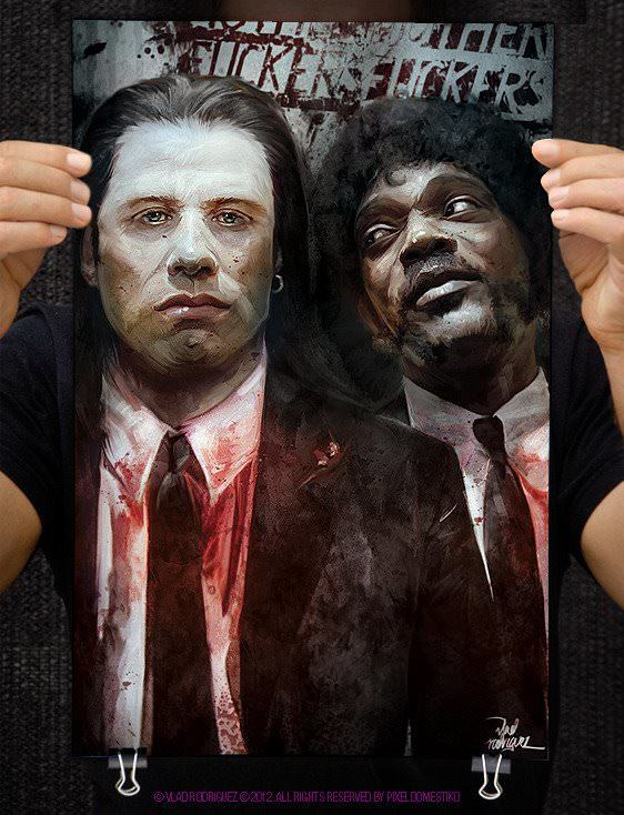 Famous fan art by Vlad Rodriguez of John Travolta and Samuel L Jackson in Pulp Fiction