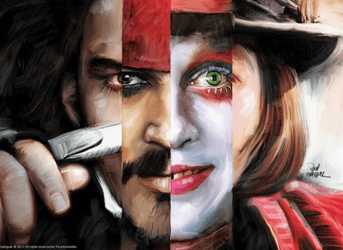 Fan art painter Vlad Rodriguez shows the many faces of Johnny Depp in this Photoshop painting
