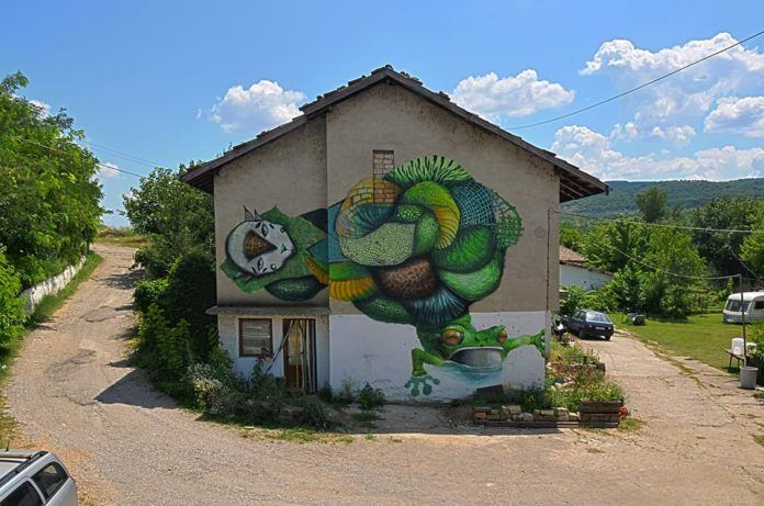 Graffiti art team 140 Ideas collaborate to create a street art collage that combines realistic and illustrative styles