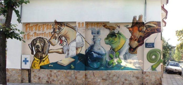 Graffiti art team 140 Ideas combine realism, illustration style and typography to create this mural of personified animals