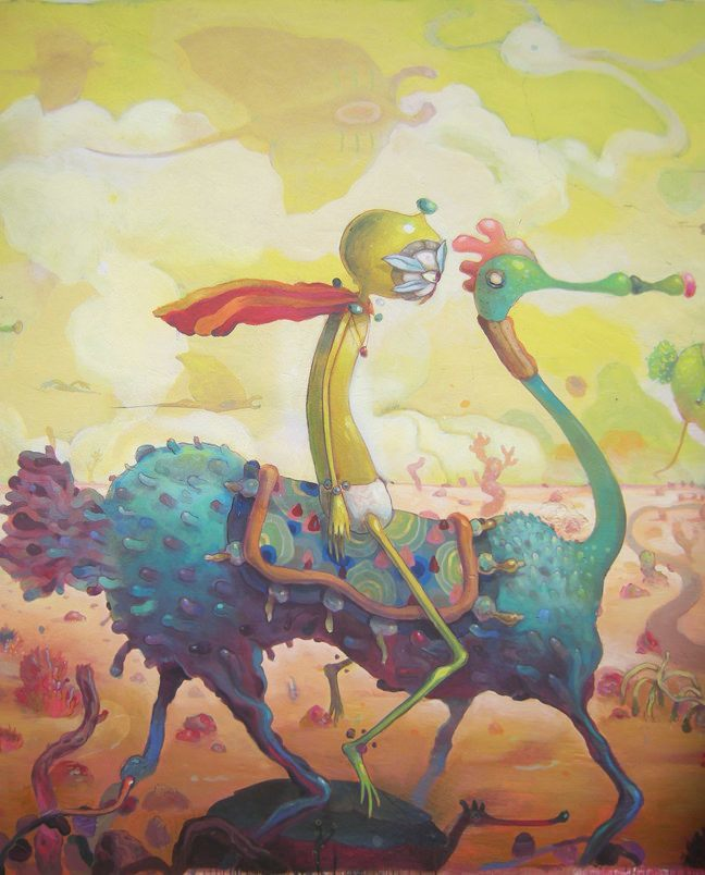 Mexican graffiti artist Dhear One creates a wacky surreal illustration of a yellow person on an alien horse